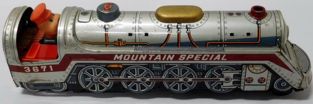 Vintage Modern Toys Tin Litho  Mountain Special  3671 Train Made in Japan Works