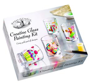 House Of Crafts Creativo Vetro Dipinto Kit Set Pittura 4 Candela Titolari HC600