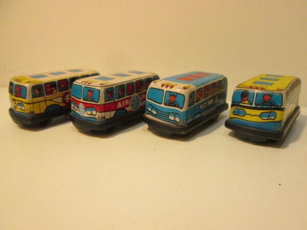 4 Bus Il Latta E Plastica 5 Cm: Circa Vintage
