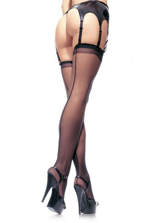 Leg Avenue LA-1000Q Plus Queen Size Black Sheer Thigh High Stockings w/ Backseam