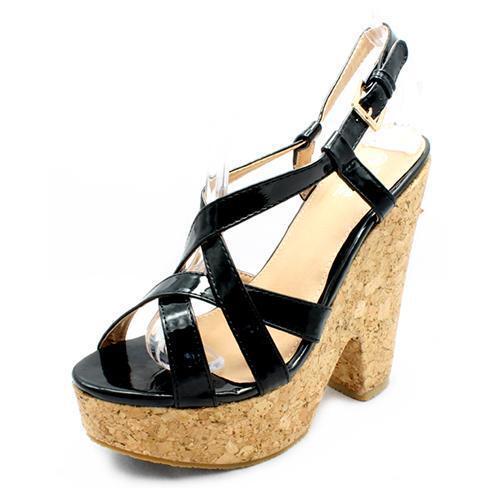 NEW TRUFFLE Ladies BLACK Patent PU Cork Heel Platform Strappy Sandals 3 4 5 6 7