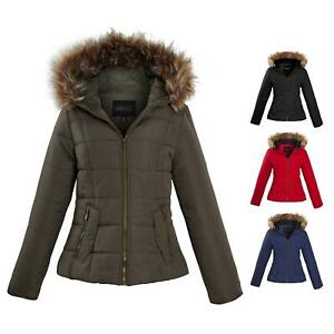 Shelikes-Ladies-Padded-Faux-Fur-Trim-Hood-Hooded-Jacket-Winter-Coat-Size-6-to-16