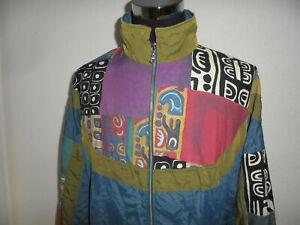 vintage-80s-ATHLET-Nylon-Jacke-oldschool-Sportjacke-80er-Trainingsjacke-glanz-L