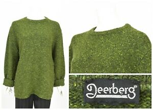 Womens-Deerberg-New-Wool-Oversized-Knit-Sweater-Jumper-Green-Size-L