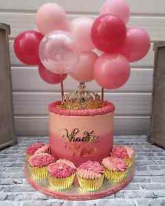 BALLOON-CAKE-TOPPER-CONFETTI-BRIDE-PARTY-BIRTHDAY-WEDDING-HEN-PINK-MINI-GARLAND