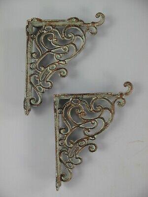 Regaltr/äger Set 14,5 x 14,5 cm Wandkonsole Lilie antik braun aus Gusseisen