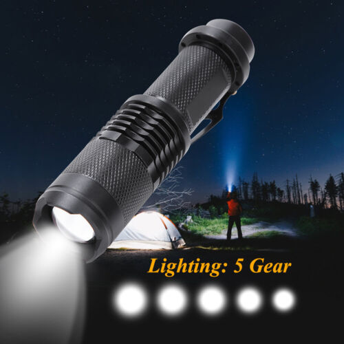 5 Gear Led flashlight 18650 Rechargeable USB linterna torch Telescopic Zoomable
