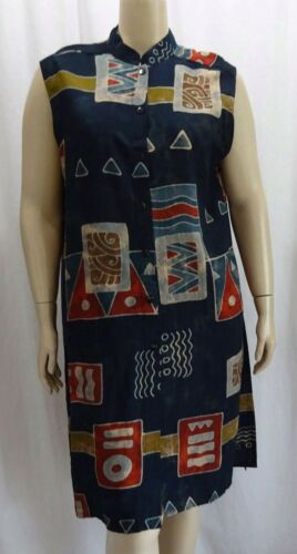 Xl Funky 58 Blå Dusterjakke Artsy 1x Long Tribal Vint Lagenlook qt81wTv