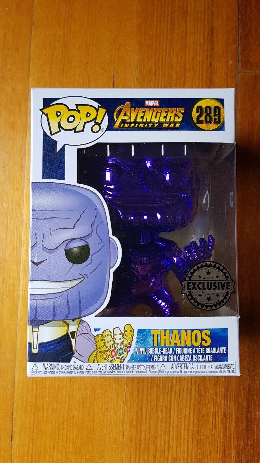Exclusiva edición limitada Funko Pop los Vengadores Infinito Guerra Thanos 289 Cromo