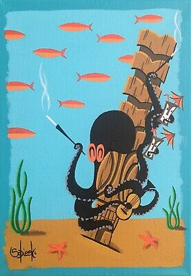 Clee Sobieski PRINT Octopus Aquatic Underwater Cocktails Tiki Mug Bob Rum