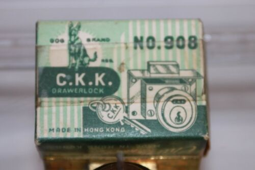 Chu Kam Key Drawer Lock 2 Keys No New in Box Vintage C.K.K 908 Hong Kong