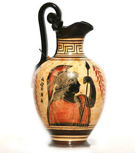 Ceramic Vase Pot Pottery Greek black-figure Painting Goddess Athena Handmade