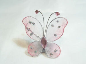 Wholesale pack of 100 x Gauze Diamante Butterflies BNLGB16 Rose//White
