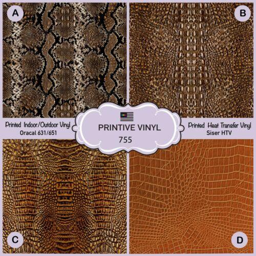 Adhesive Vinyl-  755 crocodile Leather Pattern HTV Printed HTV Brown Snake