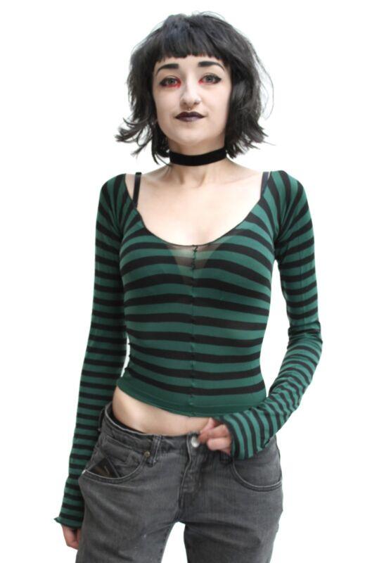 1990s Goth Verde Oscuro Raya Calzas Top Bruja Grunge Alt Gótico Nancy Halloween
