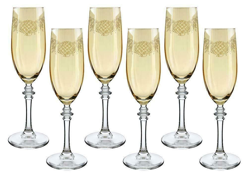 (D) Crystal Champagne Champagne Champagne Stem Glasses with 6-pc Set, Vintage Glassware ae76cb
