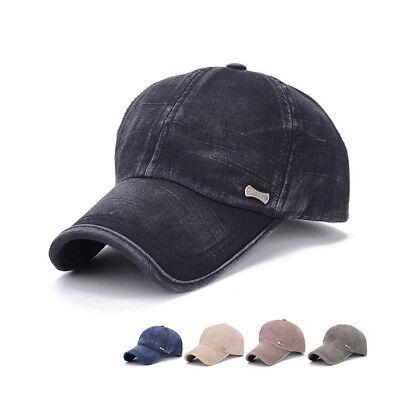 25a4e0b9e Men Plain Washed Cotton Cap Style Denim Adjustable Baseball Cap ...