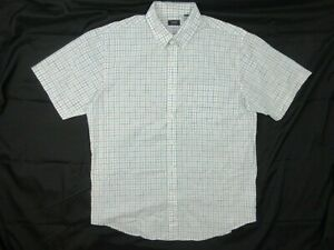 Arrow-Mens-Shirt-Size-L-Short-Sleeve-Button-Up-Collared-White-Blue-Brown-Check