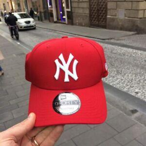 CAPPELLO-NEW-ERA-New-York-Yankees-Tela-Rosso-regolabile-logo-bianco-Strapback