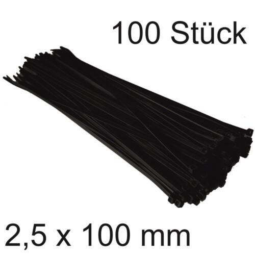 100 Stück DKB Kabelbinder 2,5 x 100 mm schwarz Nylon Binder Elekrozubehör