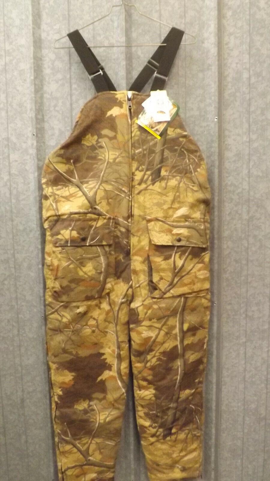 Vtg NEW  Insulated Skyline Tree Branch Camo, White Bibs sz L USA Johnson Garment