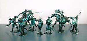 IDEAL-Medieval-Knights-70mm-Toy-Soldiers-Metallic-Green-Recast