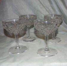 Vintage Cube Pattern Pressed Glass/Fostoria Wine/Champagne Glasses - Set of 8