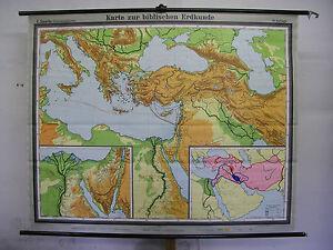 Schulwandkarte-Wall-Map-Map-Card-Bible-Old-Testament-Palestine-1967-183x147cm