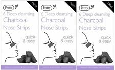 Pretty Deep Cleansing Charcoal Nose Pore Strips (3 x 6 pack) Blackhead Removal