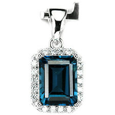 Sterling Silver 925 Emerald Cut Faceted Genuine London Blue Topaz Pendant