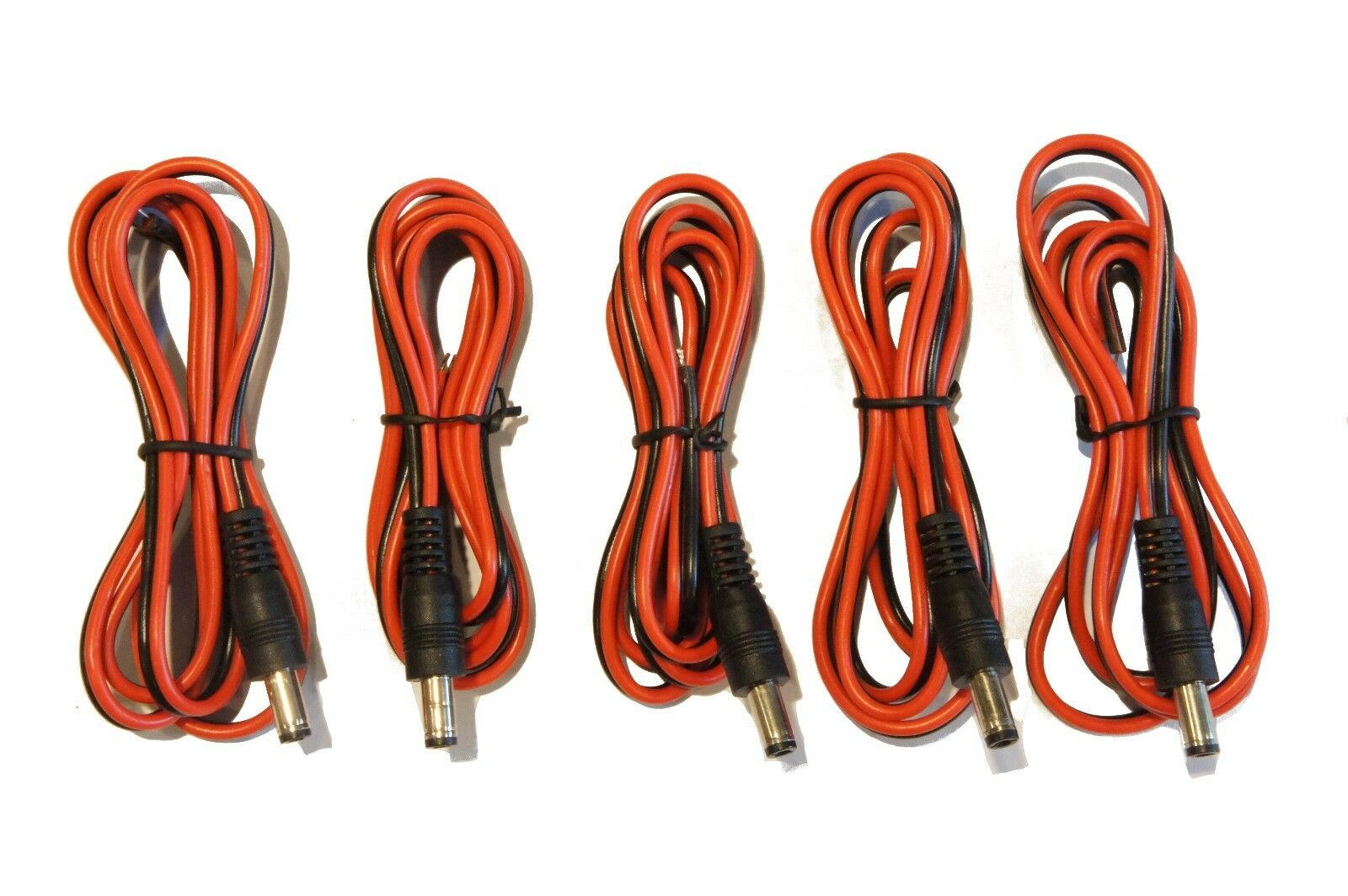 (5) Pack of 36 in (3ft.) 2.1mm x 5.5mm DC Barrel Coaxial Power Plug to Bare Wire