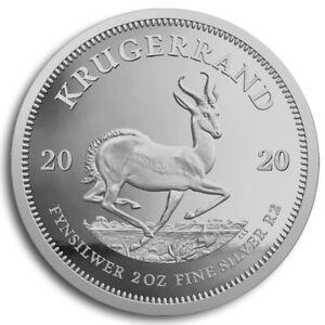 Silbermuenze-Kruegerrand-2020-2-oz-in-Polierte-Platte-im-hochwertigen-Etui