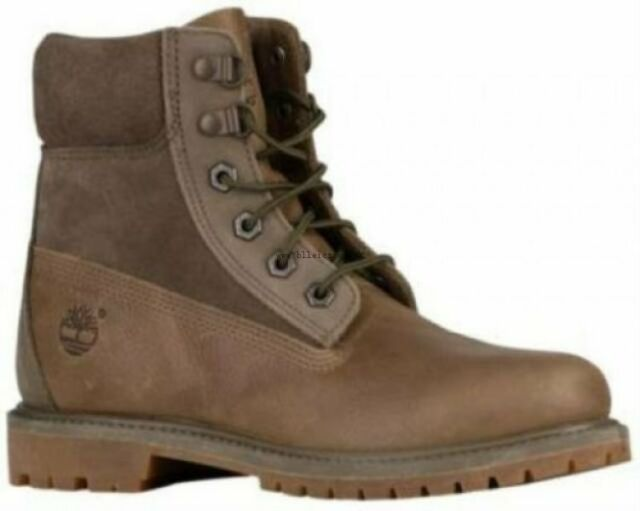 Timberland Women's 6 Inch Premium Double D Ring WP Boot (Size 7.5) Olive Brown