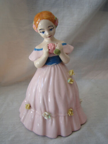 Vintage Ceramic Sweet Girl with Flower Figurine Pink Dress 111519