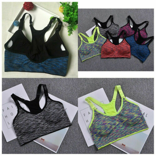 US Women Gym Run Yoga Bra Sport Padded Bra Tank Workout Fitness Push Up Top Vest