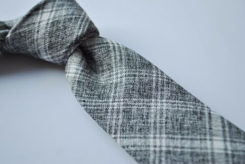 Frederick Thomas mens cotton tie in grey with white check FT2013
