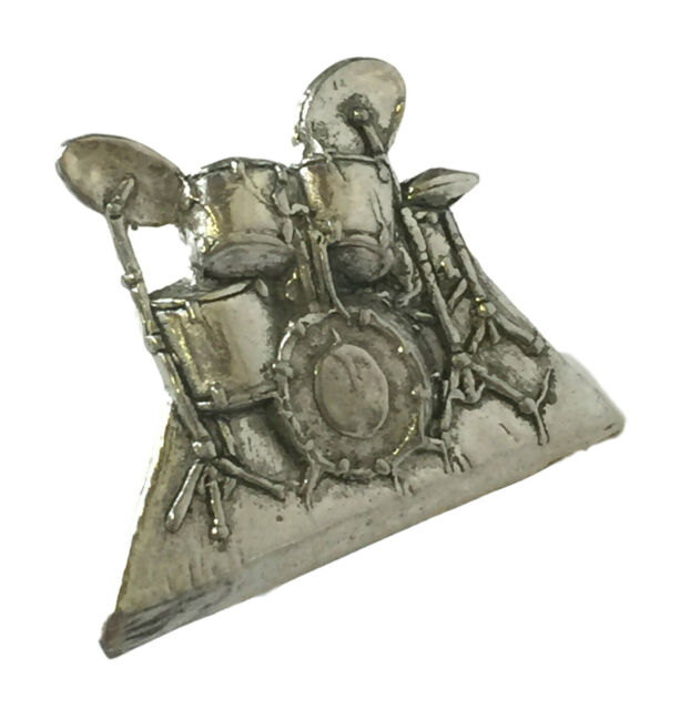 Drum Kit Handcrafted In Solid Pewter Lapel Pin Badge