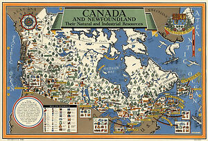 Map Of Canada Newfoundland.Details About Early Map Canada Newfoundland Natural Industrial Resources Wall Poster Vintage