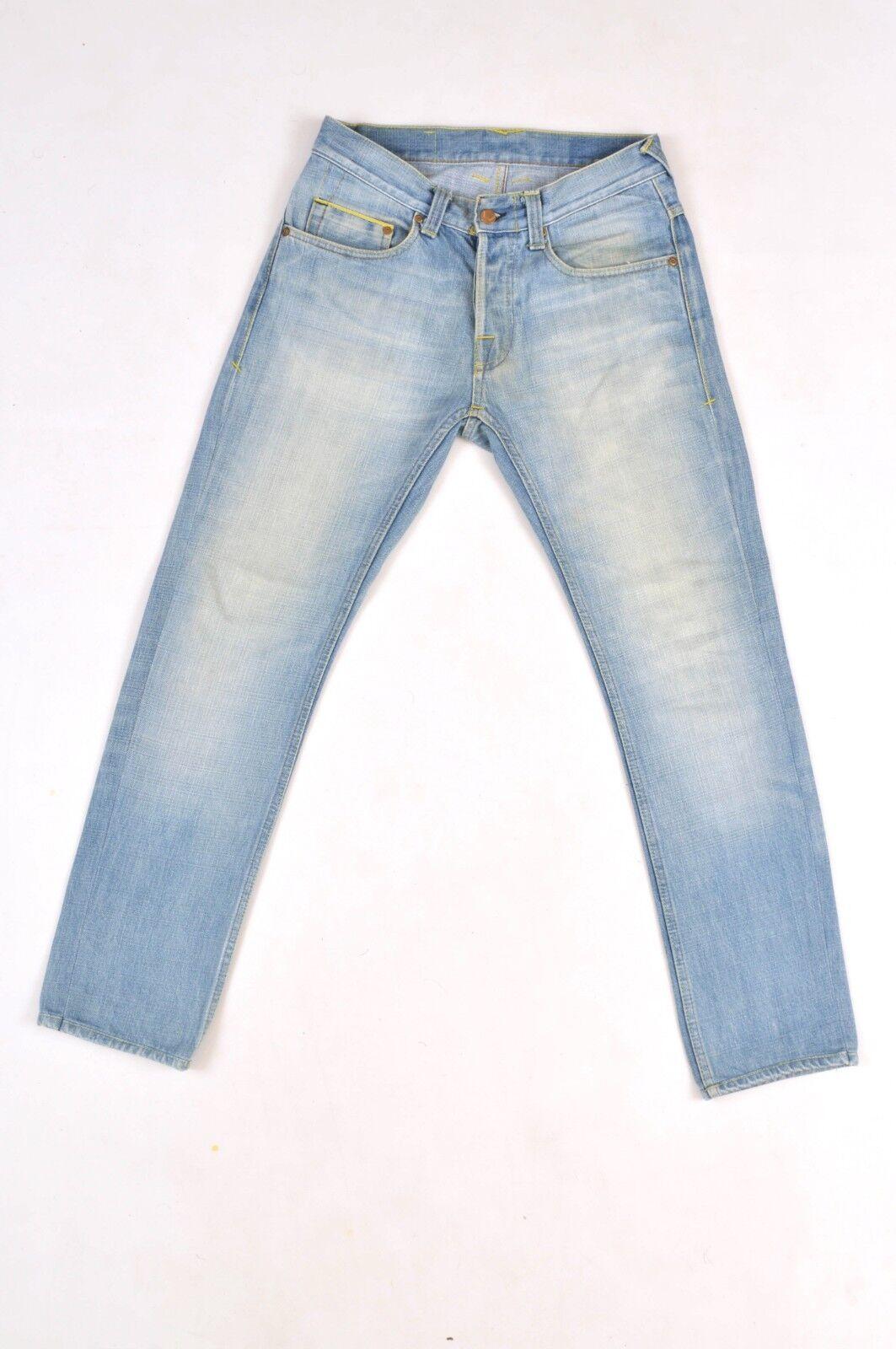 Care Label Designer Denim bluee Mens Jeans faded wash Straight SLIM W30 L29 VGC
