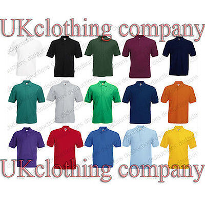 Appena Fruit Of The Loom 65/35 Polo Piqué Plain T Shirt-adulto Manica Corta Top-mostra Il Titolo Originale