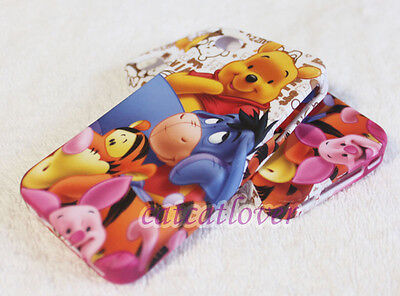 Cute Matte Winnie the Pooh and Family soft rubber case cover skin iphone 4/4s