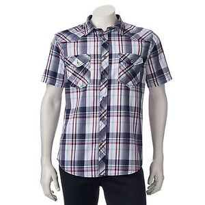 Helix Mens Plaid Button-Down Western Shirt Athletic Fit 100 ...