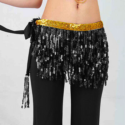 Belly Dance Latin Salsa Tango Rumba ChaCha Sequin Hip Scarf Belt Skirt&PANTS