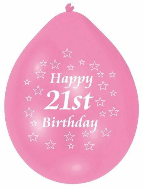 Party Age 21 Happy 21st Birthday 10 Pink & White Balloons Decoration - 995569