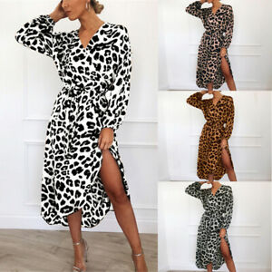 Women Leopard Print Midi Dress Lady Long Sleeve V Neck Party Wrap ... 8404fb1f3