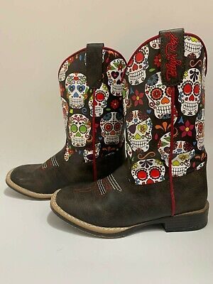 Blazin Roxx Girls/' Destiny Skull Boot Square Toe 4449602