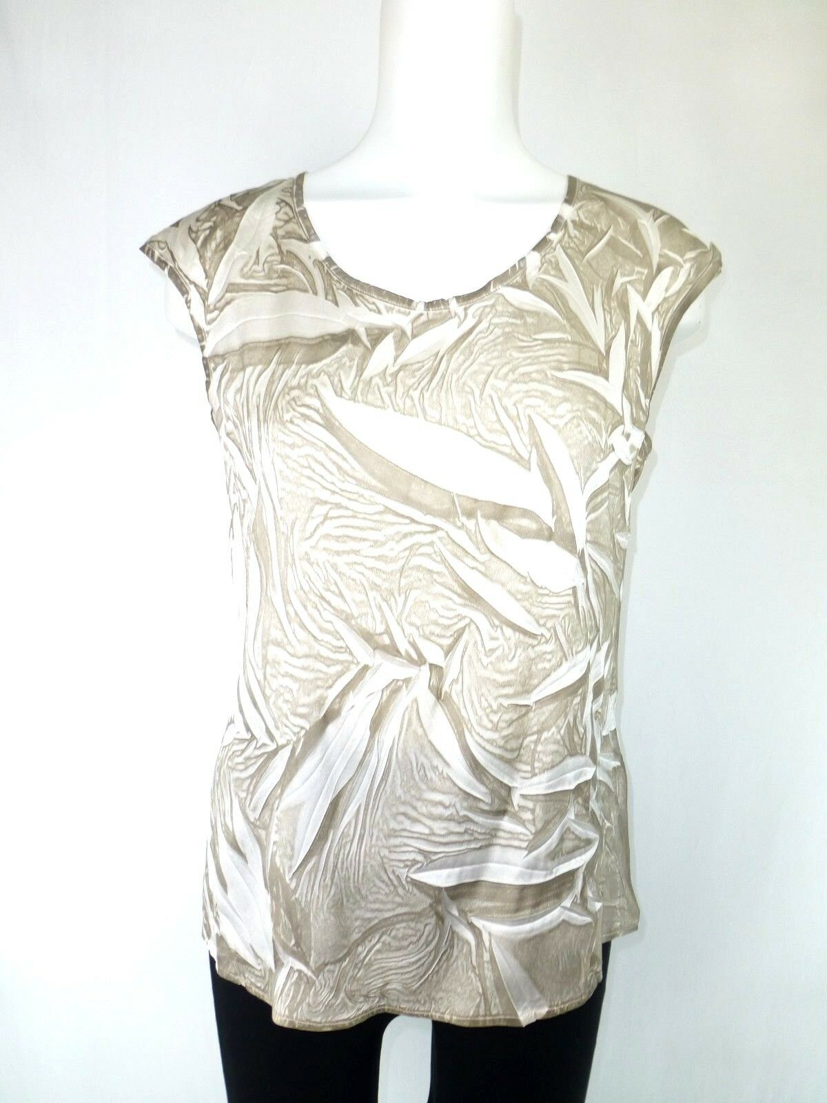 Guido Lombardi Ladies Top Shirt SIZE S 36 Brown Beige Silk Silk Shirt Np 149 New