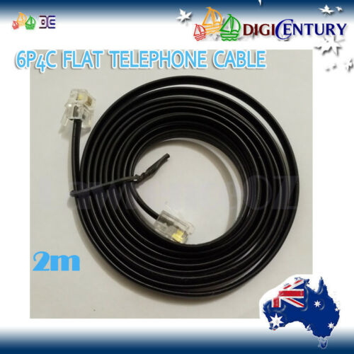 6P4C RJ11 Plug Telephone ADSL Flat Cord Cable 0.5//1//1.5//2//3//5m Black Made in AU