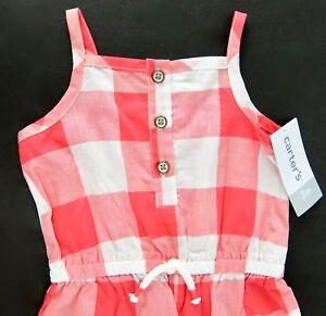17c754e1efbd Carters Infant Girls Romper Sunsuit Red White Check Cotton Size 3 ...