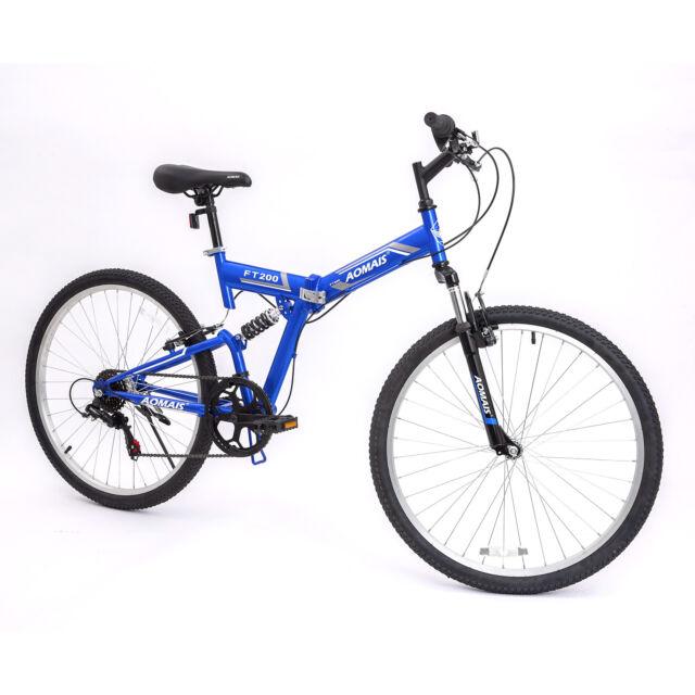 """26"""" Folding Mountain Bike Hybrid Bike Shimano & Full Suspension 7 Speed Bicycle"""